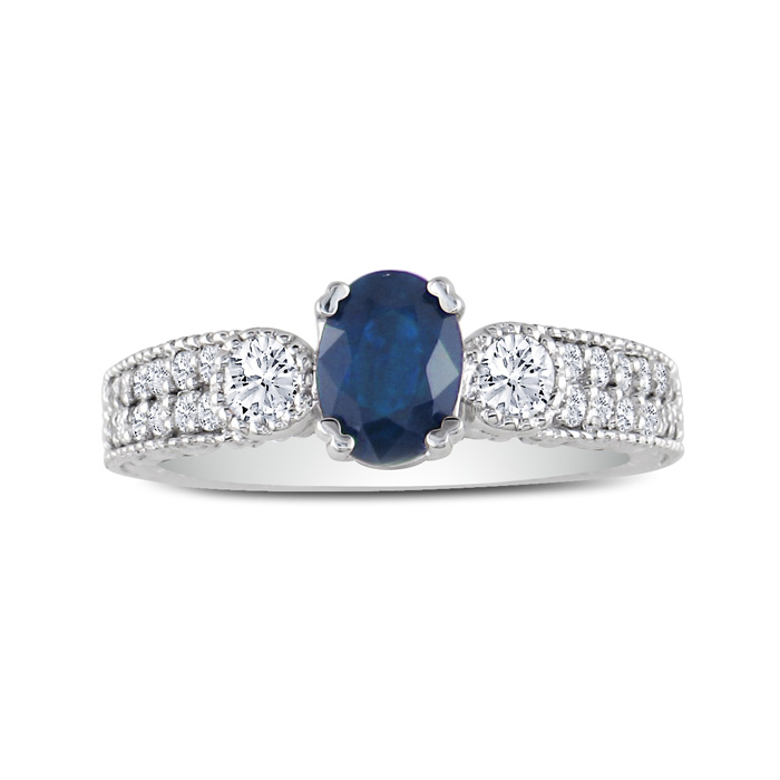 1 2/3ct Sapphire And Diamond Ring In 14k White Gold