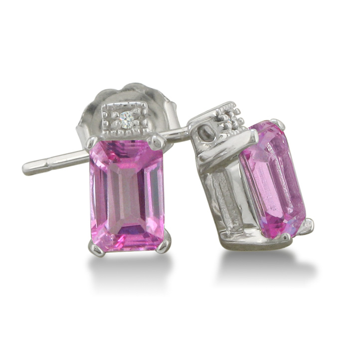 1 1/2ct Created Pink Sapphire and Diamond  Earrings, Sterling Silver