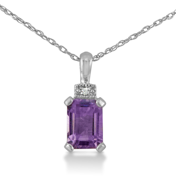 1ct Amethyst and Diamond Emerald Cut Pendant in Sterling Silver