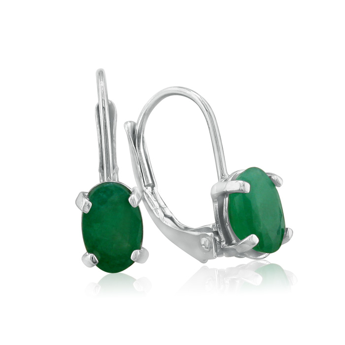 1.25ct Natural Oval Emerald Drop Earrings In Sterling Silver