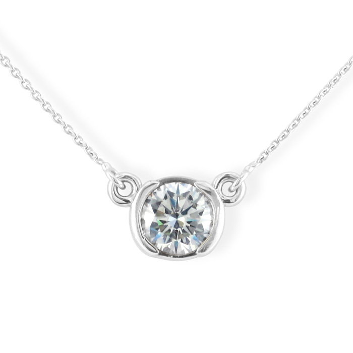 Bezel Set 1/2 Carat Diamond Necklace, 14k White Gold. Classically Elegant