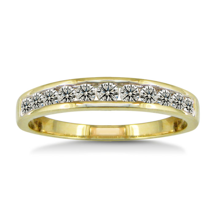 1/2ct Channel Set Diamond Wedding Band in 10k Yellow Gold thumbnail
