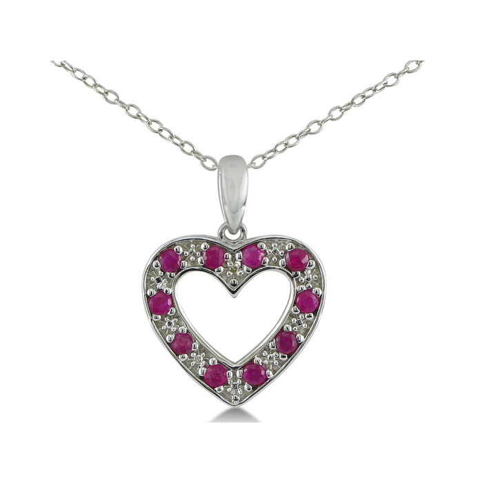 1/2ct Ruby and Diamond Heart Pendant in Sterling Silver
