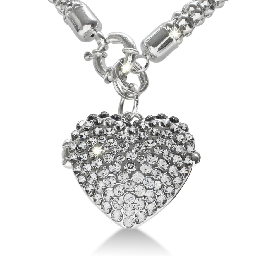 Best Black Friday Jewelry - Super Shimmery Swarovski Elements Crystal Heart Locket