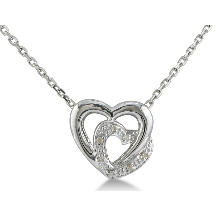 Adorable Diamond Heart Pendant, Sterling Silver