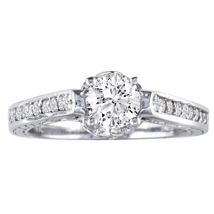 7/8ct Cathedral Diamond Engagement Ring in 14k White Gold