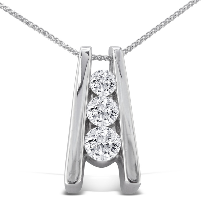 1/4ct Three Diamond Pendant in 14k White Gold