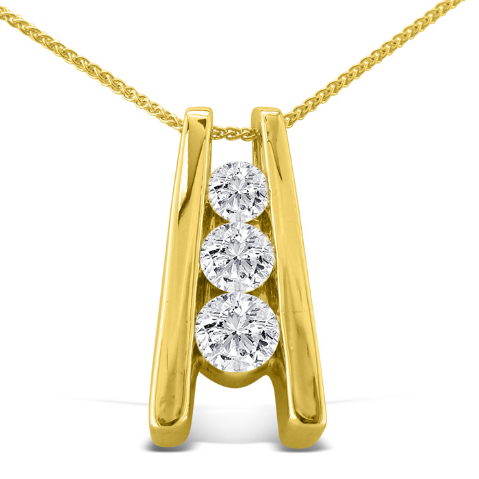 1/4ct Three Diamond Pendant in 14k Yellow Gold