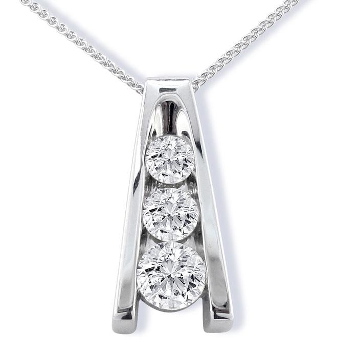 1/2ct Three Diamond Ladder Pendant in 14k White Gold