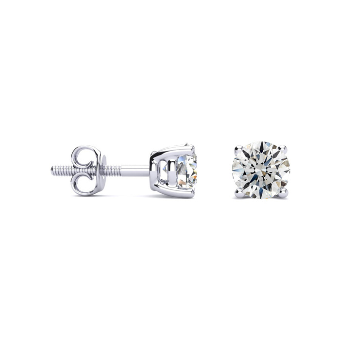 1ct G/H SI1 Round Diamond Stud Earrings In Platinum