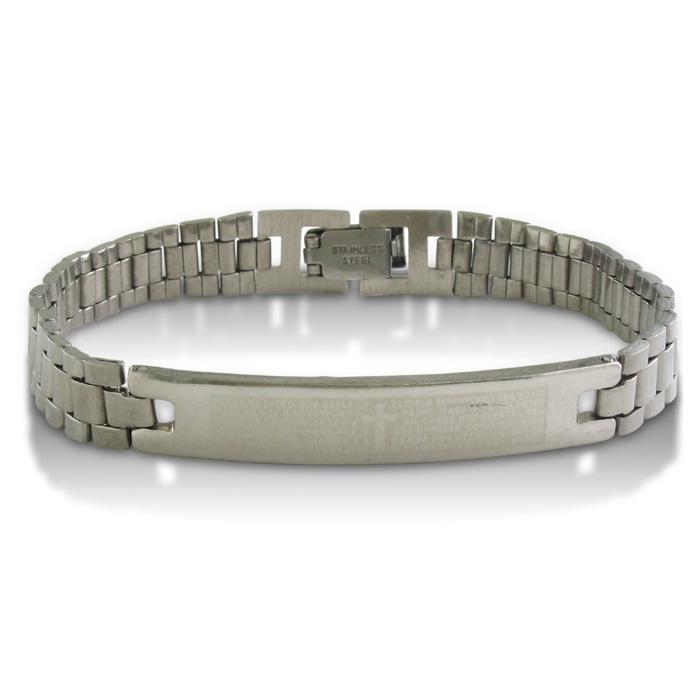 7.5-Inch Padre Nuestro Stainless Steel ID Bracelet