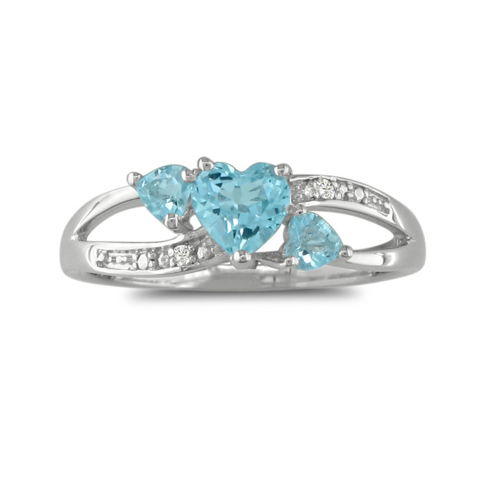 7/8ct Triple Heart Shaped Blue Topaz And Diamond Ring In Sterling Silver