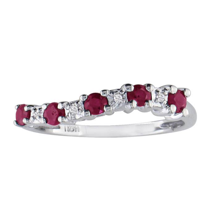 1/2ct Ruby Journey Diamond Ring in 10k White Gold