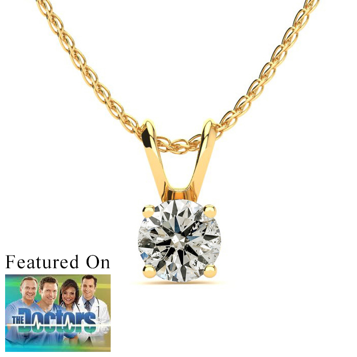 Pretty 1/2ct 14k Yellow Gold Diamond Pendant - Saint Patrick's Day Diamond Jewelry Deals