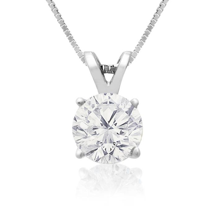 .85ct 14k White Gold Diamond Pendant, 2 Stars