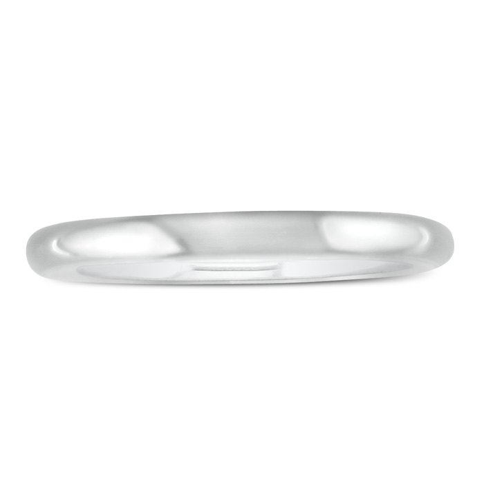 Popular 2mm 14K White Gold Ladies Wedding Band, Size 5