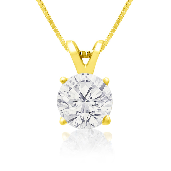 .85ct 14k Yellow Gold Diamond Pendant, 4 stars