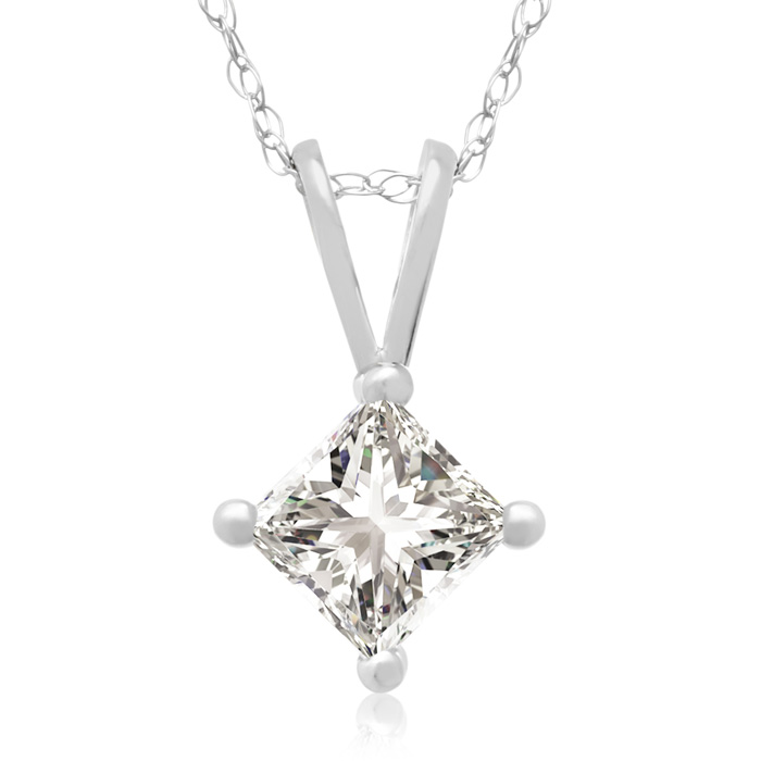Closeout Price on 1/2ct Princess Diamond Pendant in 14k White Gold.