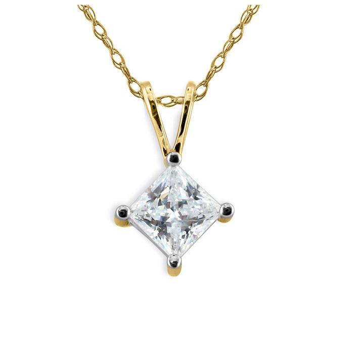 1/6ct 14k Yellow Gold Princess Diamond Pendant, 4 stars