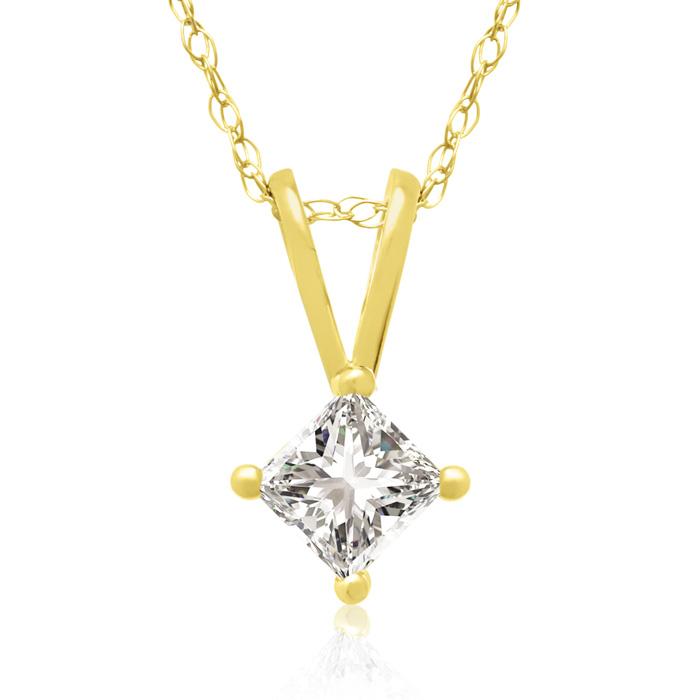 1/4ct 14k Yellow Gold Princess Diamond Pendant, 4 stars
