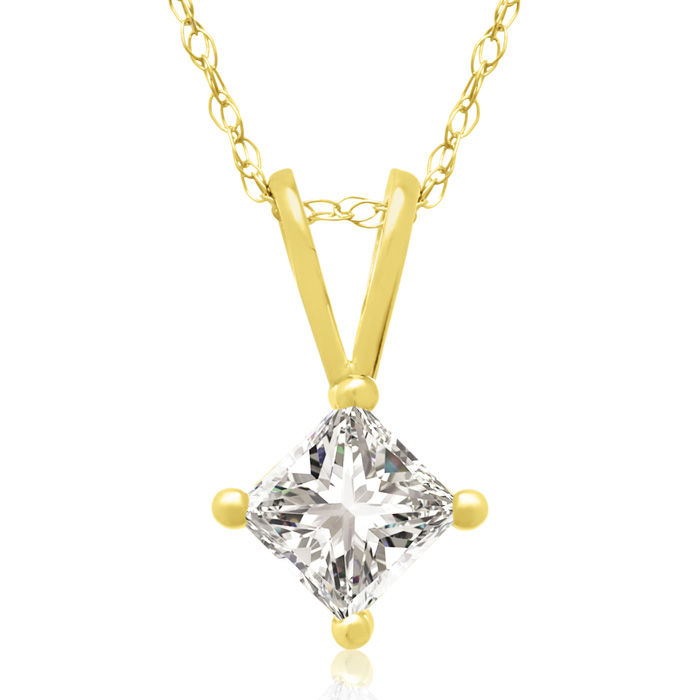 3/8ct 14k Yellow Gold Princess Diamond Pendant, 4 stars