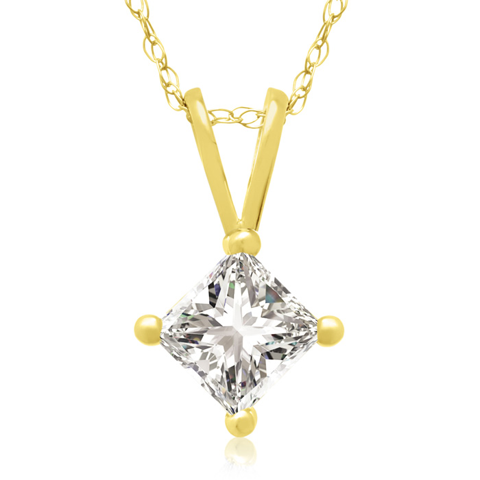 1/2ct 14k Yellow Gold Princess Diamond Pendant, 4 stars