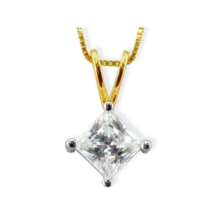 2/3ct 14k Yellow Gold Princess Diamond Pendant, 4 stars