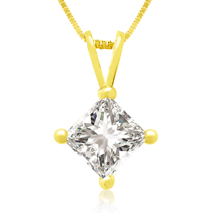 3/4ct 14k Yellow Gold Princess Diamond Pendant, 4 stars