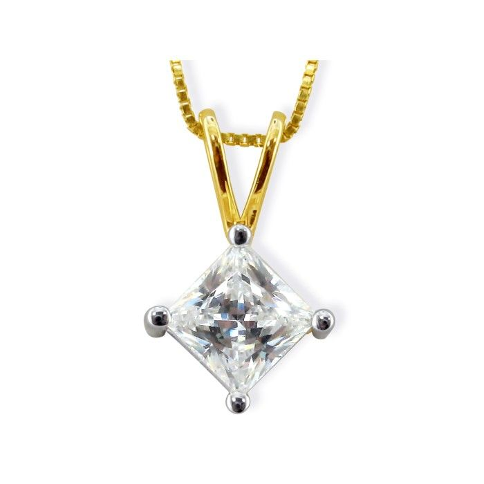 .85ct 14k Yellow Gold Princess Diamond Pendant, 4 stars