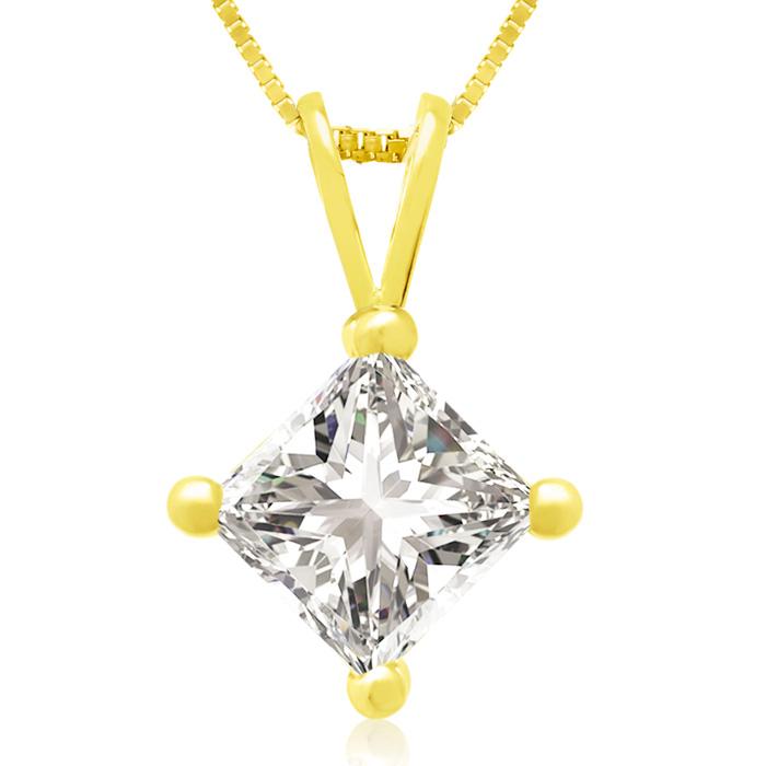 1ct 14k Yellow Gold Princess Diamond Pendant, 4 stars