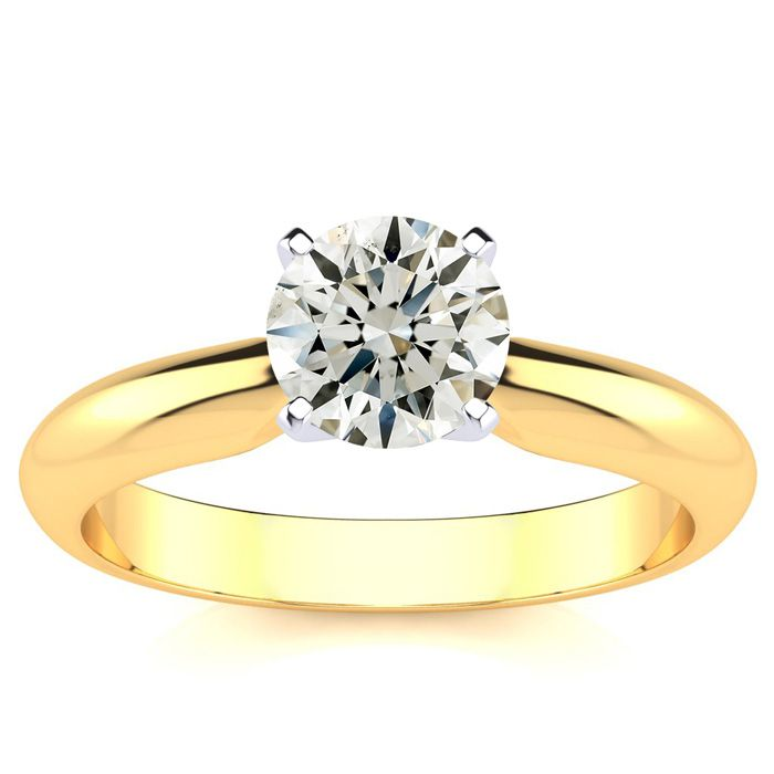 1ct 14k Yellow Gold Diamond Engagement Ring, I/J SI3/I1