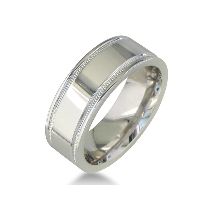 Mens And Womens High Polish And Milgrain Silver Wide 8mm Wedding Band Super