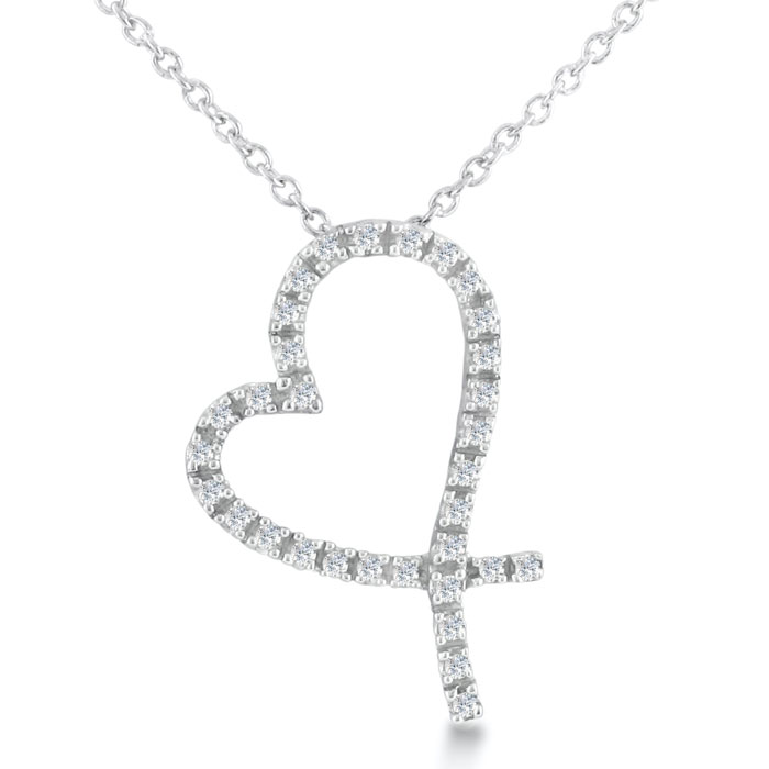 Floating Diamond Heart Necklace in Sterling Silver With 18 Inch Chain