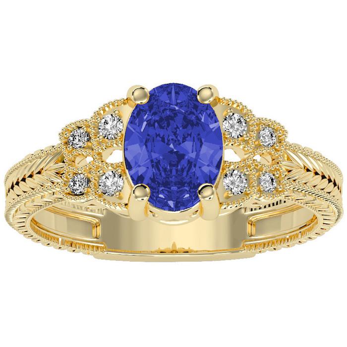 Beautiful 1 1/2ct Tanzanite and Diamond Ring in 10k Yellow Gold