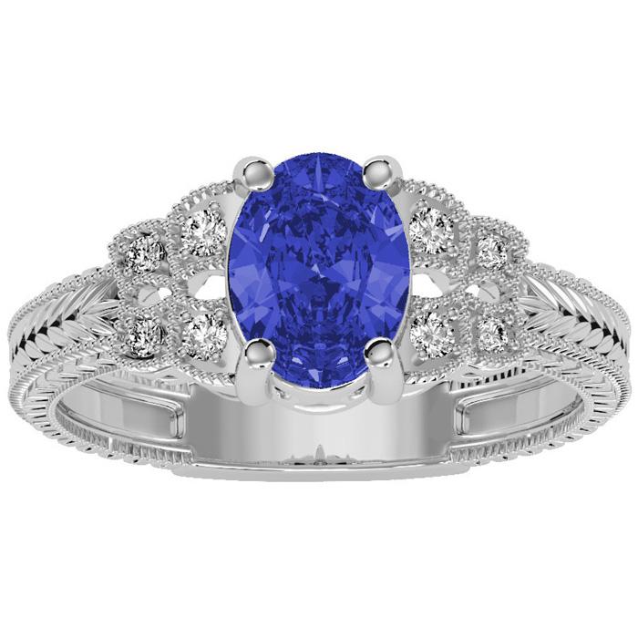 Beautiful 1 1/2ct Tanzanite and Diamond Ring in 10k White Gold