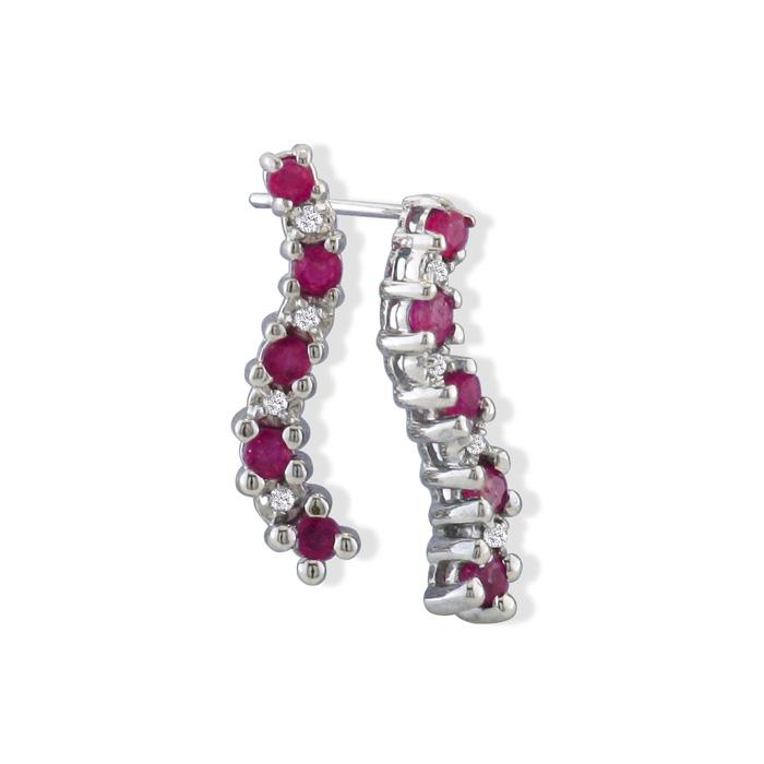 1/2ct Ruby Journey Diamond Earrings in 10k White Gold