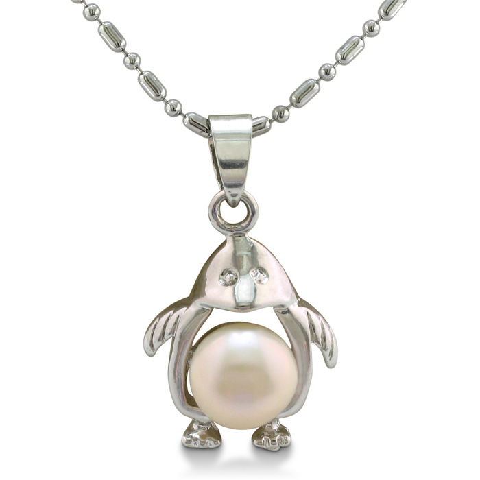 Penguin Shaped Freshwater Pearl Pendant