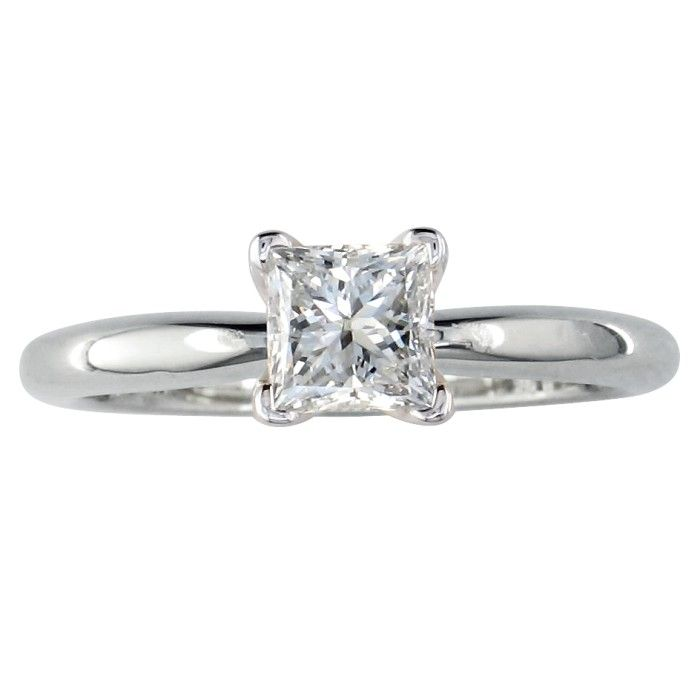 1/2ct Princess Diamond Solitaire Engagement Ring in 14k White Gold
