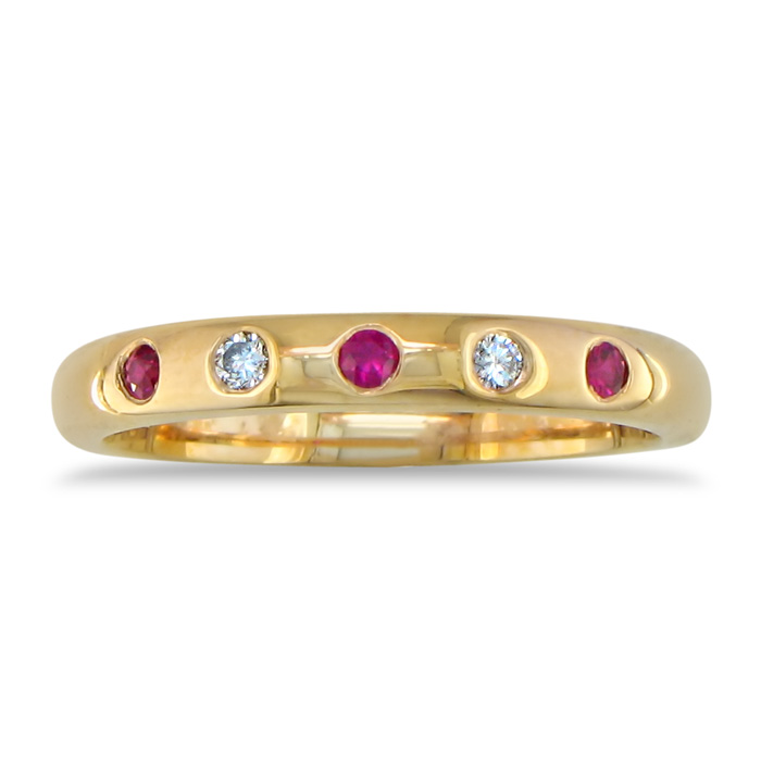 1/10ct Ruby And Diamond Band, 14k Yellow Gold