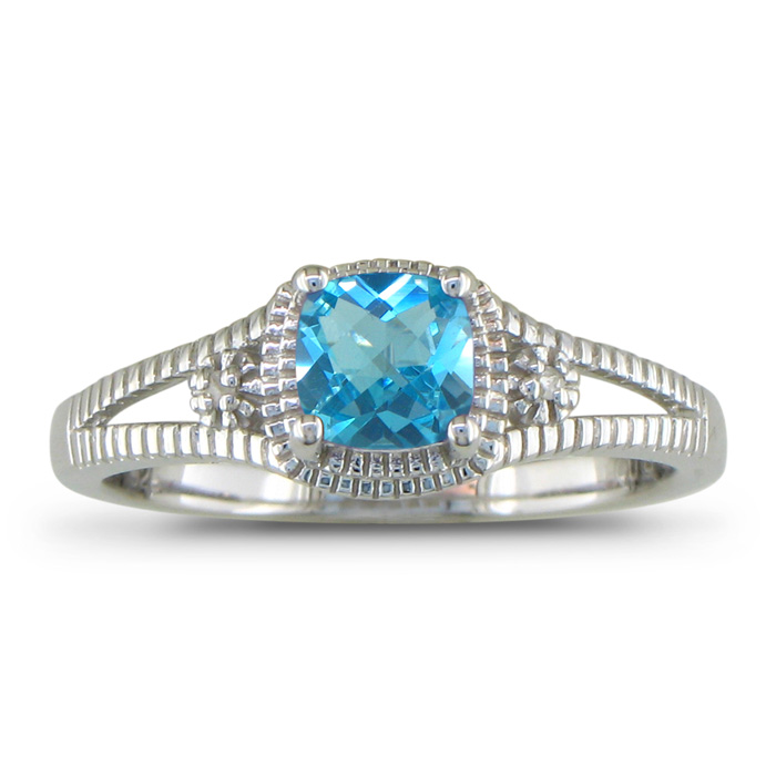 3/4ct Blue Topaz And Diamond Ring, Sterling Silver