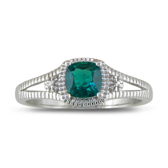 3/4ct Created Emerald and Diamond Ring in Sterling Silver