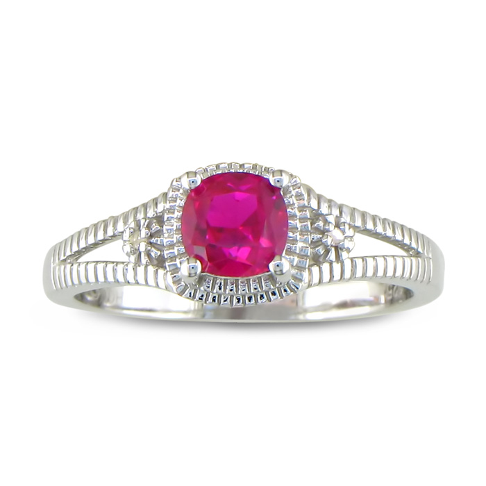 3/4ct Created Ruby and Diamond Ring