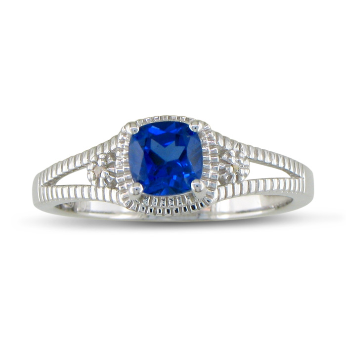 3/4ct Created Sapphire And Diamond Ring, Sterling Silver