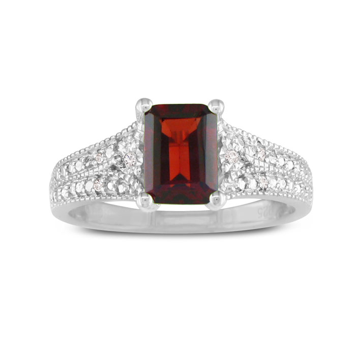 1 1/2ct Garnet and Diamond Ring, Sterling Silver