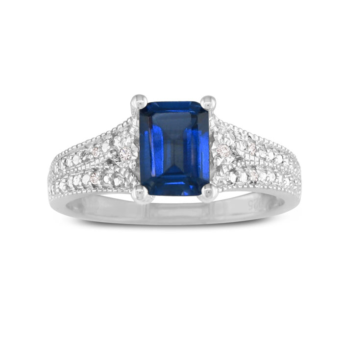 1 1/2ct Created Sapphire And Diamond Ring In Sterling Silver