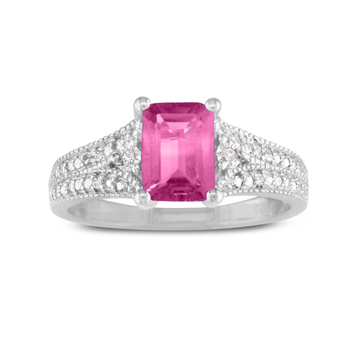 1 1/2ct Pink Topaz and Diamond Ring, Sterling Silver