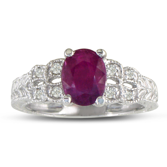Important 1 1/2ct Ruby and Diamond Ring in 10k White Gold