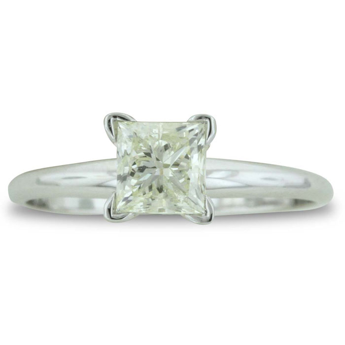 1ct Princess Diamond Solitaire Engagement Ring in 14k White Gold. SI1-SI2