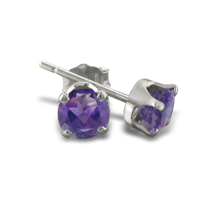 1 1/3ct Amethyst Stud Earrings In Sterling Silver