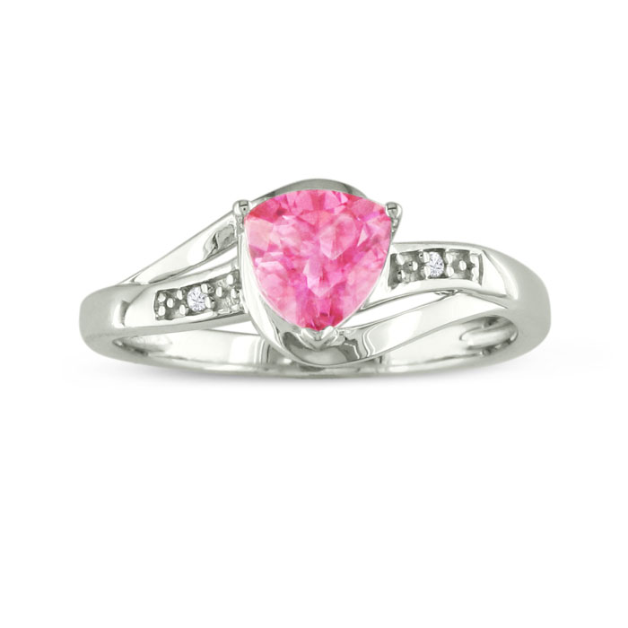 3/4ct Trillion Created Pink Sapphire And Diamond Ring, Sterling Silver